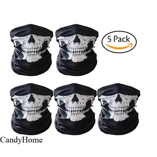 93af1d6804f CandyHome 5 Pack Seamless Skull Mask Motorcycle Bicycle Half Face Tube  Skeleton Mask for Halloween -