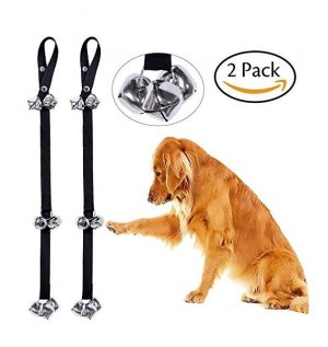 CandyHome 2 Pack Potty Doorbells Housetraining Dog Doorbells Tinkle Bells for House Training, Dog Bell with Doggie Doorbell and Potty Training for Puppies Instructional Guide (Black)